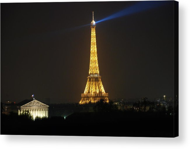 Eiffel Tower Acrylic Print featuring the photograph Eiffel Tower At Night by Jennifer Ancker