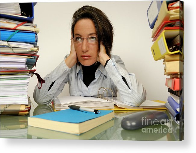 Casual Clothing Acrylic Print featuring the photograph Mature Office Worker Sitting At Desk With Piles Of Folders by Sami Sarkis