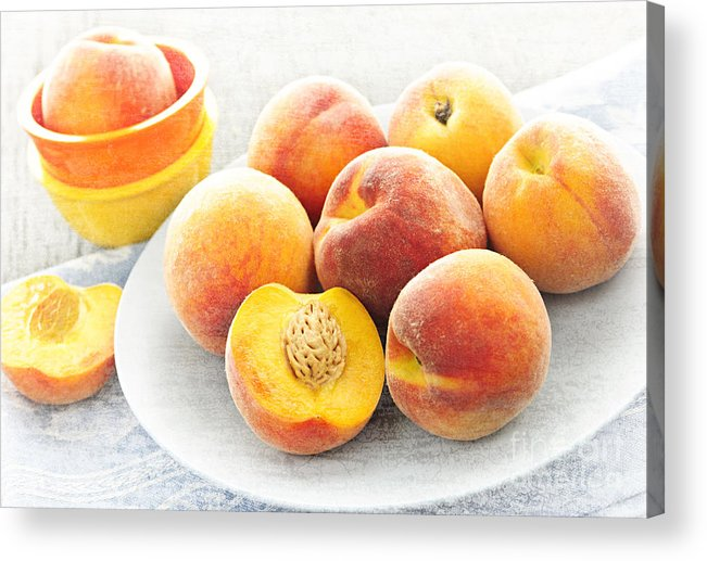Peaches Acrylic Print featuring the photograph Peaches On Plate by Elena Elisseeva