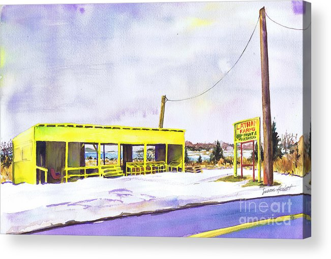 Farm Acrylic Print featuring the painting Yellow Farm Stand Winter Orient Harbor Ny by Susan Herbst