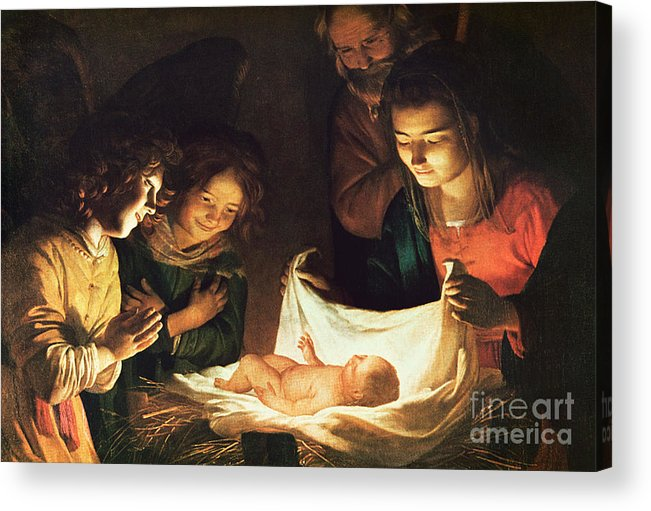 Adoration Of The Baby Acrylic Print featuring the painting Adoration Of The Baby by Gerrit van Honthorst