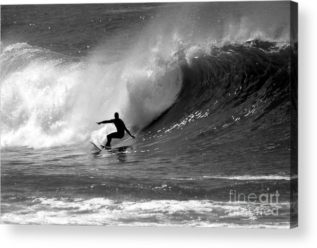 Black And White Acrylic Print featuring the photograph Black And White Surfer by Paul Topp