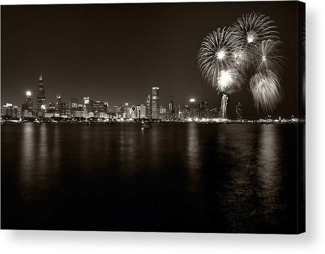 4th Acrylic Print featuring the photograph Chicago Skyline Fireworks Bw by Steve Gadomski
