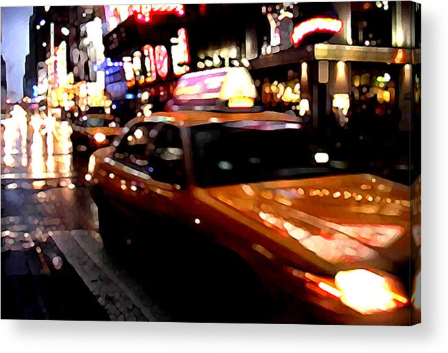 Taxi Acrylic Print featuring the painting Manhattan Taxis by Jose Roldan Rendon