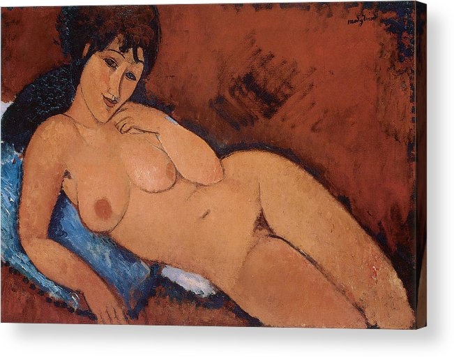 Amedeo Modigliani Acrylic Print featuring the painting Nude On A Blue Cushion by Amedeo Modigliani