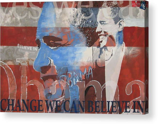 Obama Art Acrylic Print featuring the mixed media Obama Yes by Xavier Carter