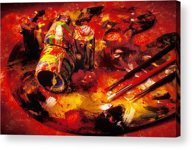 Camera Acrylic Print featuring the photograph Painted Camera by Garry Gay