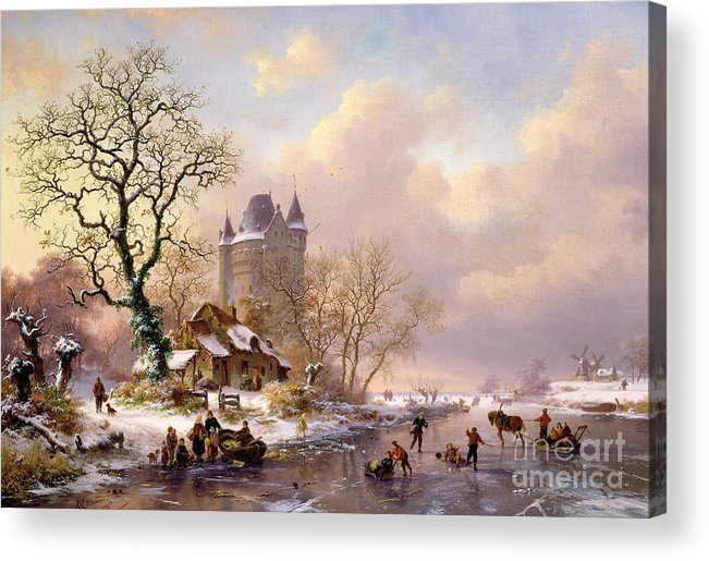 Winter Acrylic Print featuring the painting Winter Landscape With Castle by Frederick Marianus Kruseman