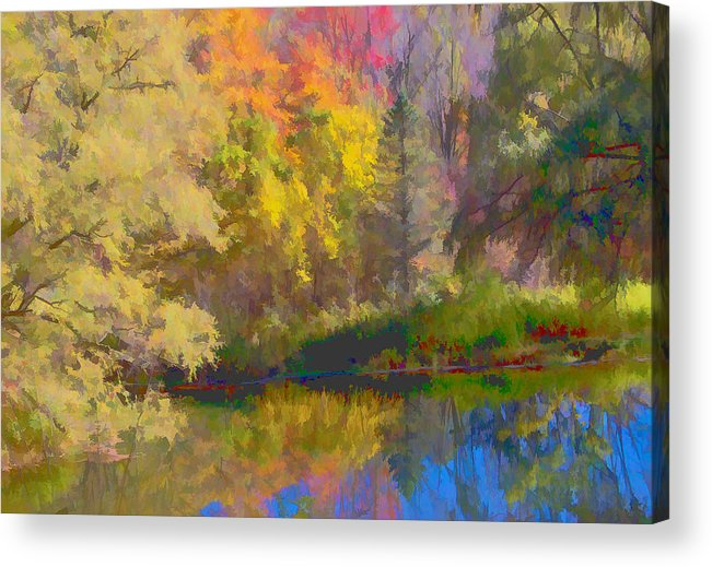 Autumn Acrylic Print featuring the photograph Autumn Beside The Pond by Don Schwartz