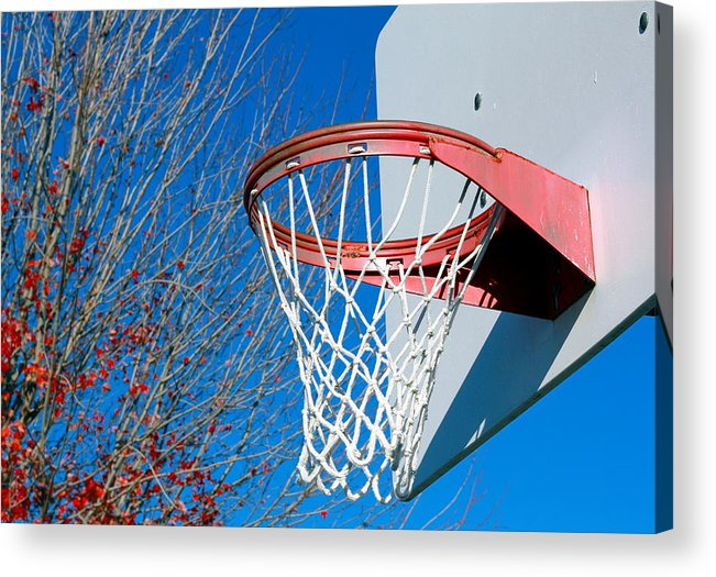 Net Acrylic Print featuring the photograph Basketball Net by Valentino Visentini