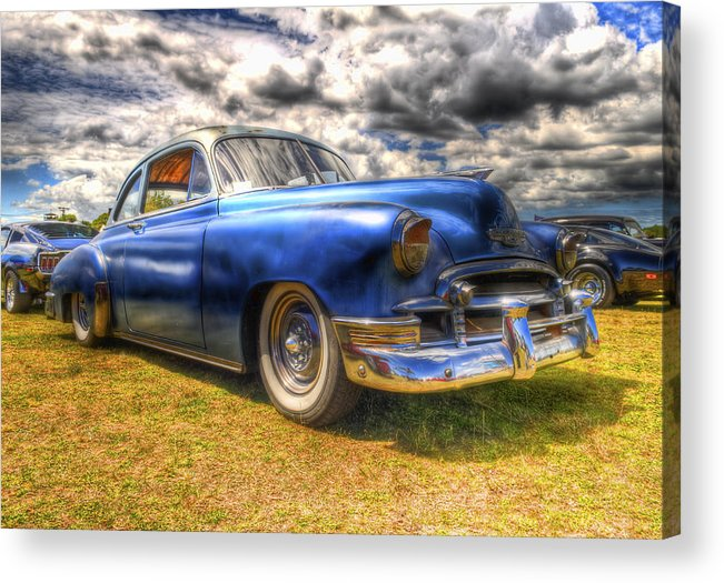 Fifties Automobile Acrylic Print featuring the photograph Blue Chevy Deluxe - Hdr by Phil 'motography' Clark