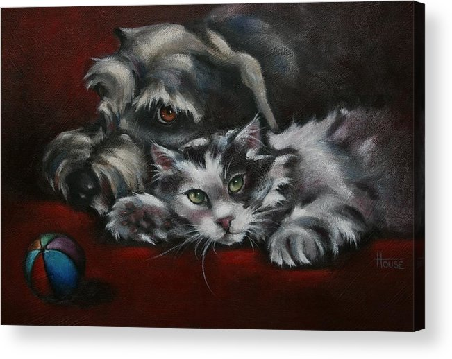Dog Acrylic Print featuring the painting Christmas Companions by Cynthia House