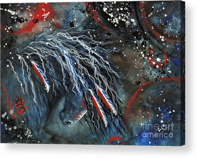 Wild Horse Acrylic Print featuring the painting Let Freedom Run Majestic Series #71 by AmyLyn Bihrle