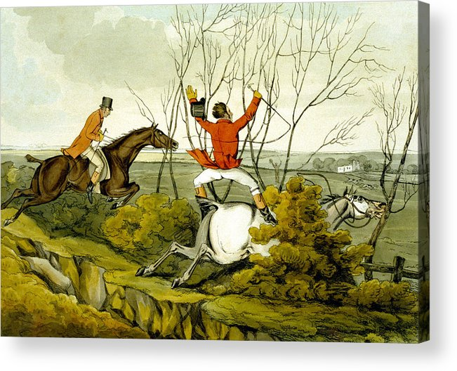 Ditch; Jumping; Grey; Horse; Hunter; Hunting; Rider; Horseback; Unseated; Unhorsed; Falling; Landscape; Accident; Sport; Comical; Humorous Acrylic Print featuring the painting Plunging Through The Hedge From Qualified Horses And Unqualified Riders by Henry Thomas Alken