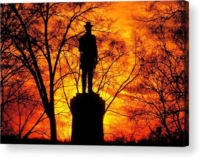 Civil War Acrylic Print featuring the photograph Sky Fire - Flames Of Battle 50th Pennsylvania Volunteer Infantry-a1 Sunset Antietam by Michael Mazaika