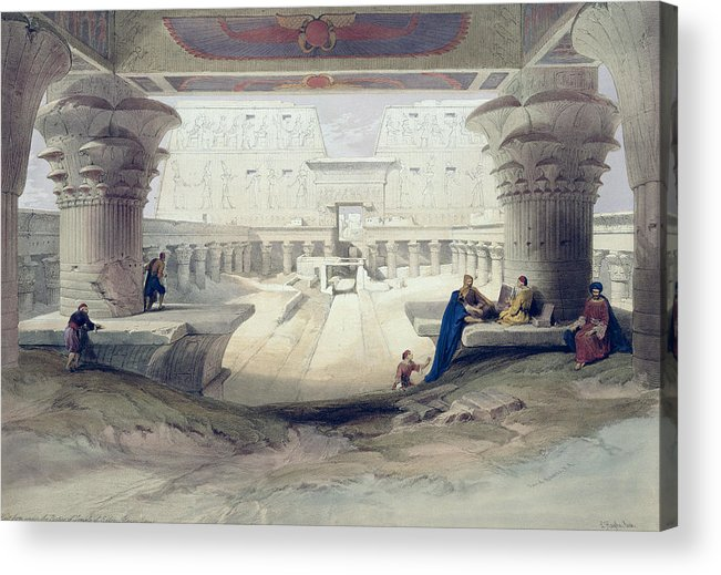 Ruins Acrylic Print featuring the drawing View From Under The Portico Of Temple by David Roberts