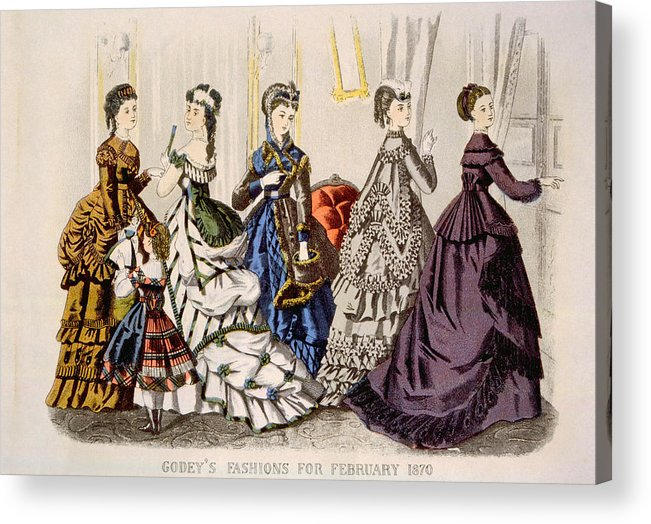1870s Fashion Acrylic Print featuring the photograph Womens Fashions From Godeys Ladys Book by Everett