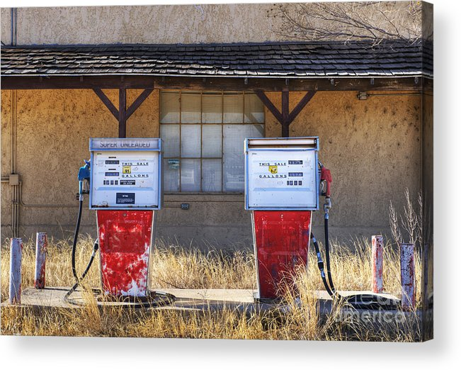 Abandoned Acrylic Print featuring the photograph Abandoned Gas Pumps And Station by Dave & Les Jacobs