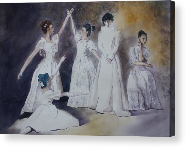 Ballet Dancers Acrylic Print featuring the painting Magic by Patsy Sharpe
