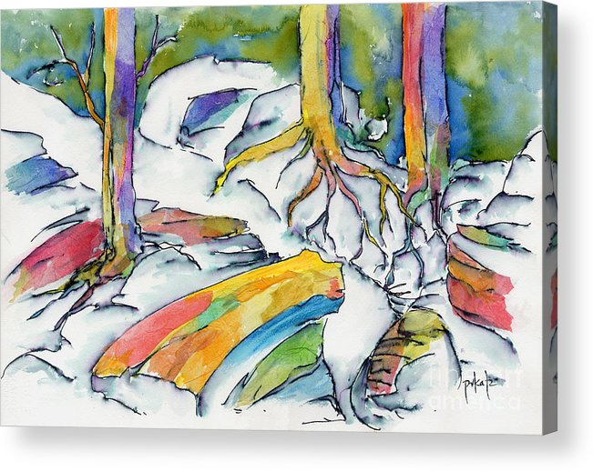 Roots Acrylic Print featuring the painting Roots And Rocks by Pat Katz