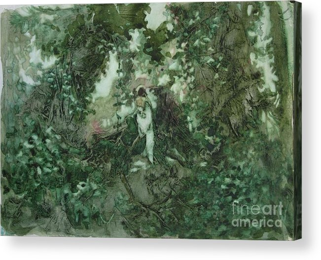 Kudzu Acrylic Print featuring the painting Surprised Bather by Elizabeth Carr