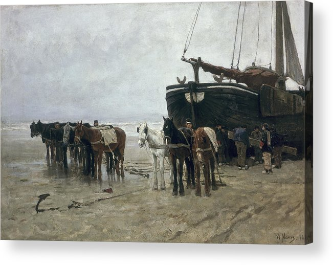 Boat Acrylic Print featuring the painting Boat On The Beach At Scheveningen by Anton Mauve