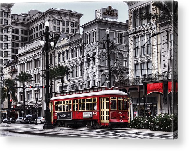 Nola Acrylic Print featuring the photograph Canal Street Trolley by Tammy Wetzel