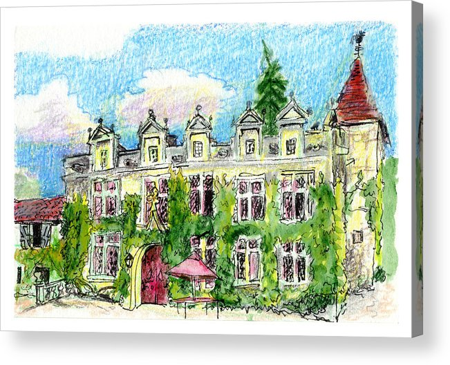 French Acrylic Print featuring the painting Chateau De Maumont by Tilly Strauss
