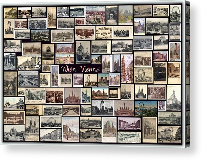 Wien Acrylic Print featuring the pyrography Old Vienna Collage by Janos Kovac