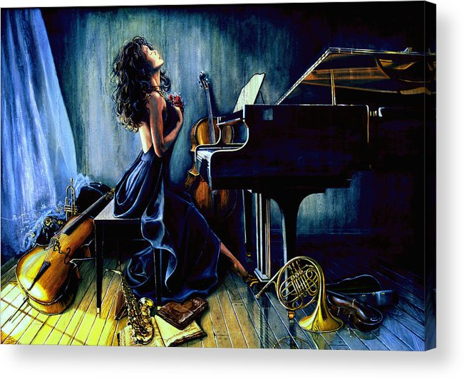 Musical Instrument Still Life Acrylic Print featuring the painting Appassionato by Hanne Lore Koehler