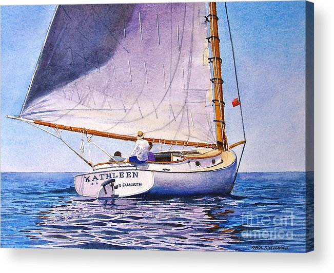 Sail Acrylic Print featuring the painting Cape Cod Catboat by Karol Wyckoff