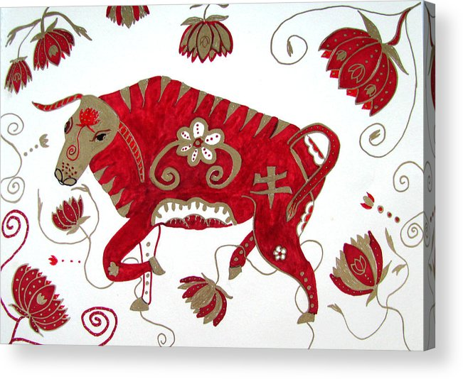Ox Acrylic Print featuring the drawing Chinese Year Of The Ox by Barbara Giordano