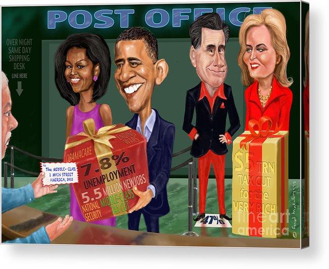 Obama Acrylic Print featuring the digital art Early X-mas Gift by Fred Makubuya