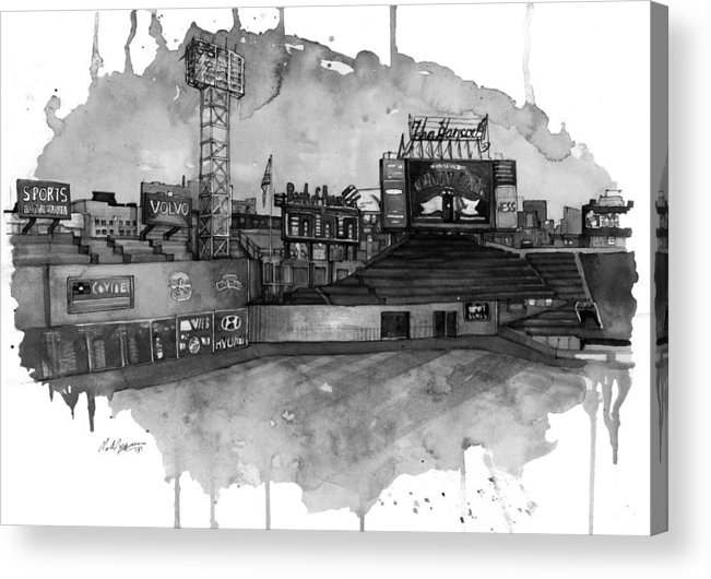 Fenway Acrylic Print featuring the painting Fenway Bw by Michael Pattison