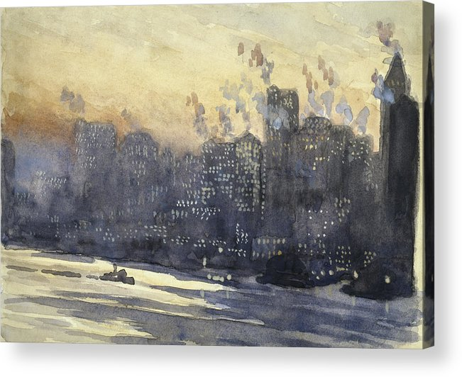 Manhattan Acrylic Print featuring the painting New York Harbor And Skyline At Night Circa 1921 by Aged Pixel