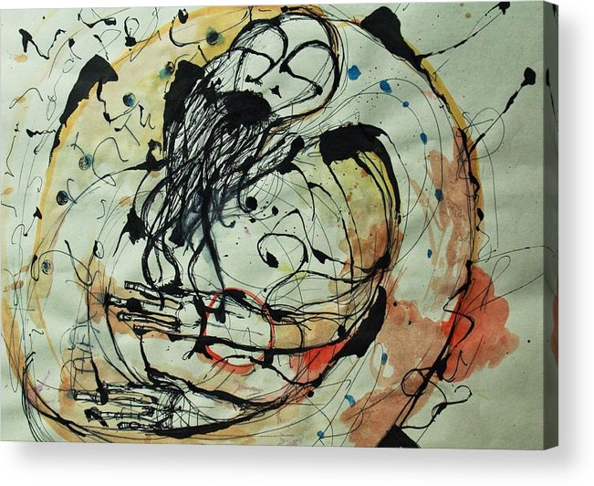 Pen And Ink Acrylic Print featuring the drawing Pain Erupts Everywhere Original by Mark M Mellon