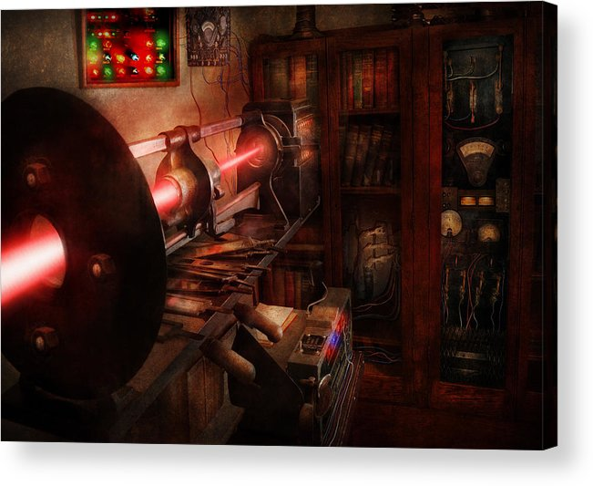Cyberpunk Acrylic Print featuring the photograph Steampunk - Photonic Experimentation by Mike Savad