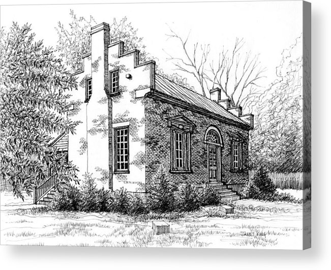 Carter House Acrylic Print featuring the drawing The Carter House In Franklin Tennessee by Janet King