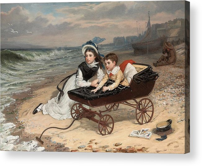 What Are The Wild Waves Saying; Character; Characters; Florence Dombey; Paul Dombey; Male; Female; Child; Children; Childhood; Victorian; Dickensian; Seaside; Beach; Young; Perambulator; Sentimental; Pram; Windy; Rough; Coast; Coastal; Sound; Noise; Surf; Crashing; Listening; Seated; Tide; Sea Foam; Carriage; Stroller Acrylic Print featuring the painting What Are The Wild Waves Saying? by Charles Wynne Nicholls