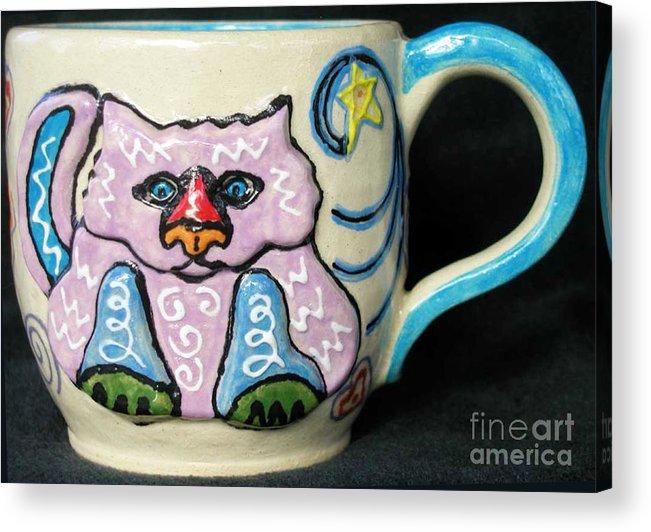 Cat Acrylic Print featuring the ceramic art Star Kitty Mug by Joyce Jackson