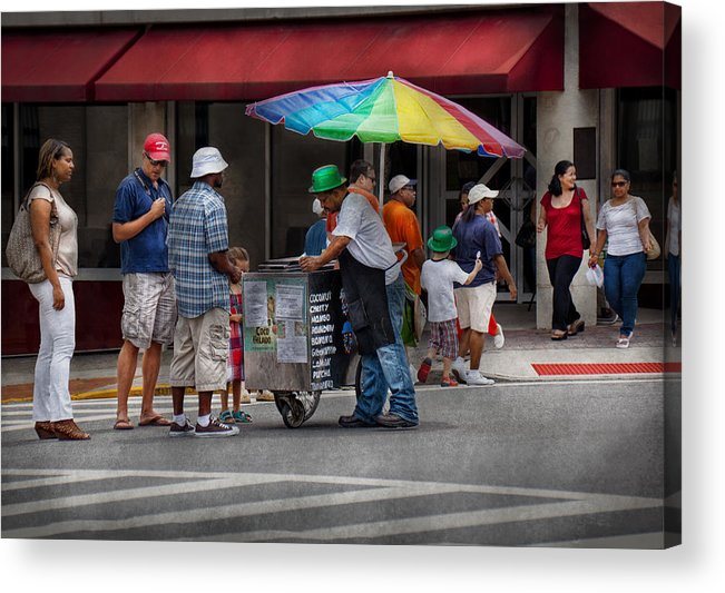 Hdr Acrylic Print featuring the photograph Americana - Mountainside Nj - Buying Ices by Mike Savad