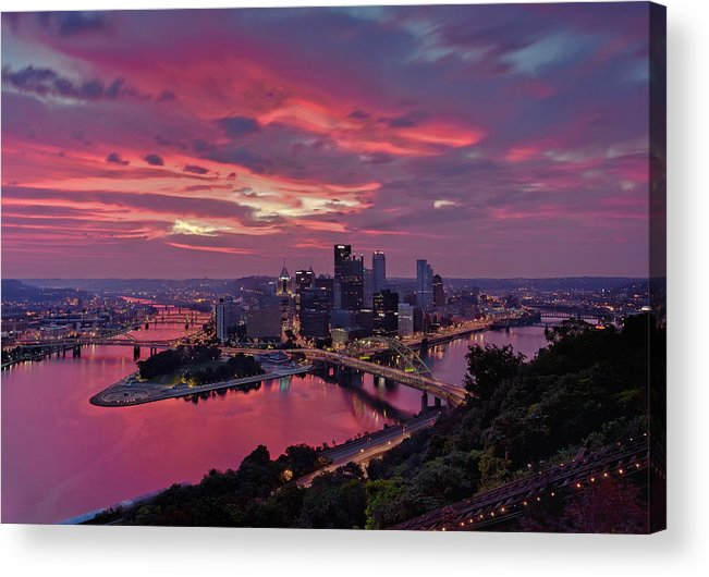 Pittsburgh Acrylic Print featuring the photograph Pittsburgh Dawn by Jennifer Grover