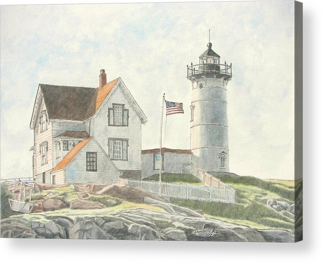 Watercolor Acrylic Print featuring the painting Sunrise At Nubble Light by Dominic White