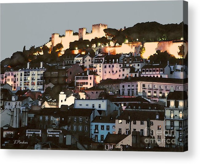Abstract Acrylic Print featuring the photograph Dawn At St. George Castle Lisbon by Linda Parker
