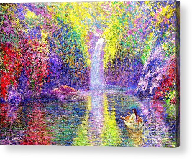 Waterfall Acrylic Print featuring the painting Floating by Jane Small