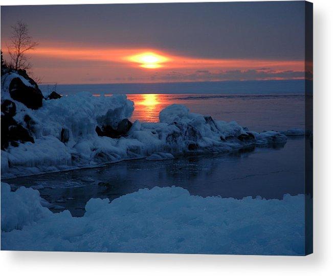 Ice Acrylic Print featuring the photograph Icy Lake Superior Sunrise by Sandra Updyke