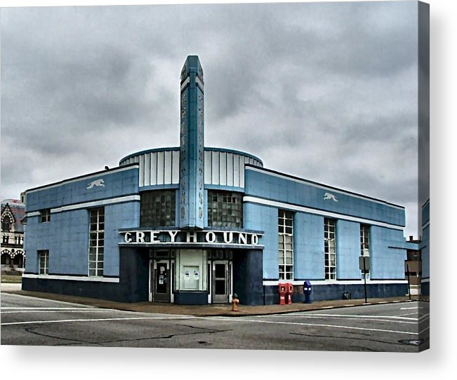 Greyhound Acrylic Print featuring the photograph Old Greyhound Bus Terminal by Julie Dant