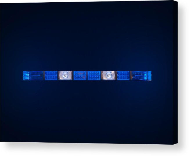 Ambulance Acrylic Print featuring the photograph Police Emergency Lights With Blue Surrounding Light by Fizzy Image