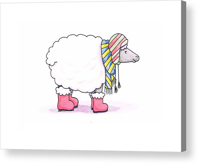 Sheep Acrylic Print featuring the painting Sheep In A Scarf by Christy Beckwith
