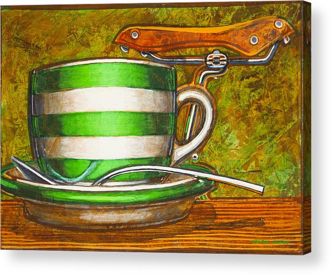 Stripes Acrylic Print featuring the painting Still Life With Green Stripes And Saddle by Mark Howard Jones